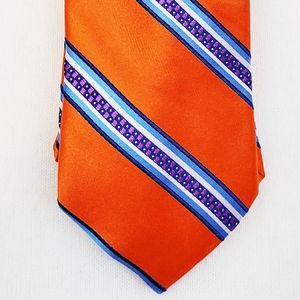 Ted Baker London Italian Silk Tie Orange Blue New
